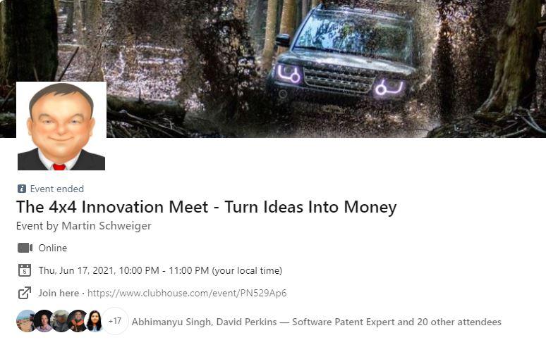The 4×4 Innovation Meet (#4) With Ricardo Cali (DE) – Clubhouse Event