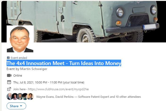 The 4×4 Innovation Meet (#7) With Ricardo Cali (DE) – Clubhouse Event